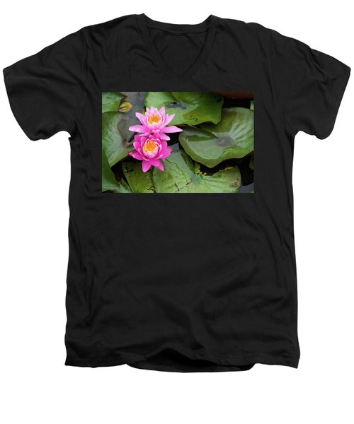 Two Pink Lilies Men's V-Neck T-Shirt