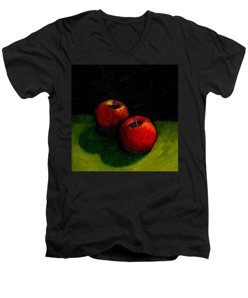 Two Red Apples Still Life Men's V-Neck T-Shirt