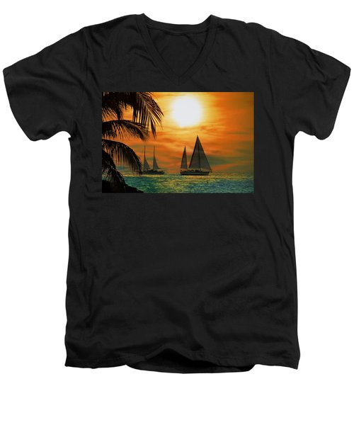 Two Ships Passing In The Night Men's V-Neck T-Shirt