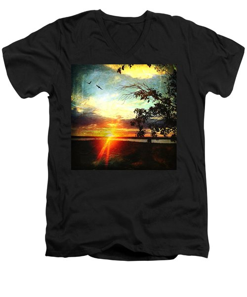 Two Souls Flying Off Into The Sunset  Men's V-Neck T-Shirt