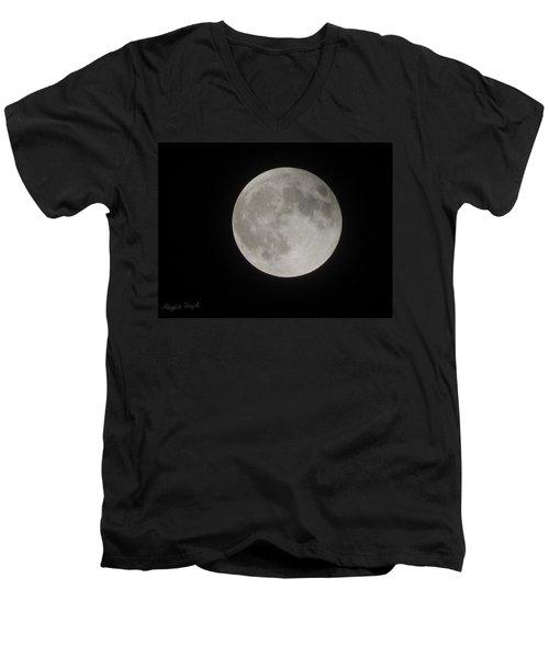 Two-tone Gray Moon Men's V-Neck T-Shirt