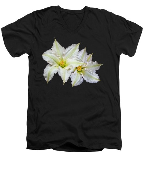 Men's V-Neck T-Shirt featuring the photograph Two White Clematis Flowers On Black by Jane McIlroy