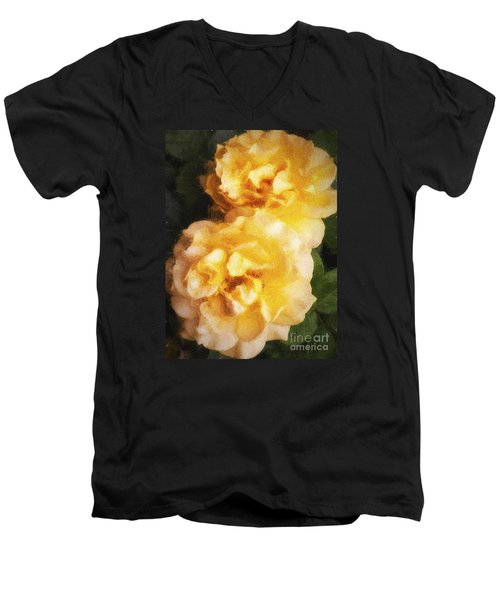 Two Yellow Roses  ... Men's V-Neck T-Shirt by Chuck Caramella