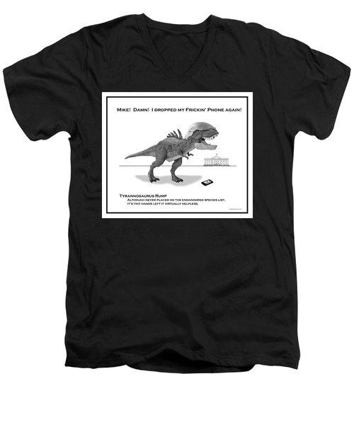 Tyrannosaurus Rump Bw Men's V-Neck T-Shirt