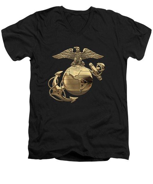 U S M C Eagle Globe And Anchor - N C O And Enlisted E G A Over Black Velvet Men's V-Neck T-Shirt