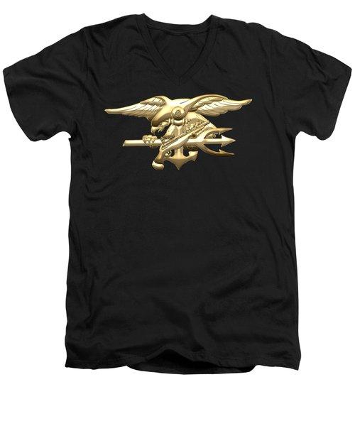 U. S. Navy S E A Ls Emblem On Black Velvet Men's V-Neck T-Shirt