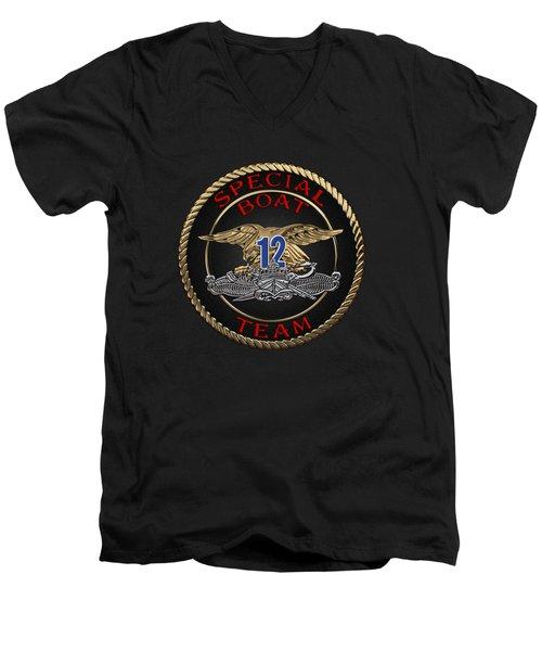 U. S. Navy S W C C - Special Boat Team 12   -  S B T 12  Patch Over Black Velvet Men's V-Neck T-Shirt by Serge Averbukh