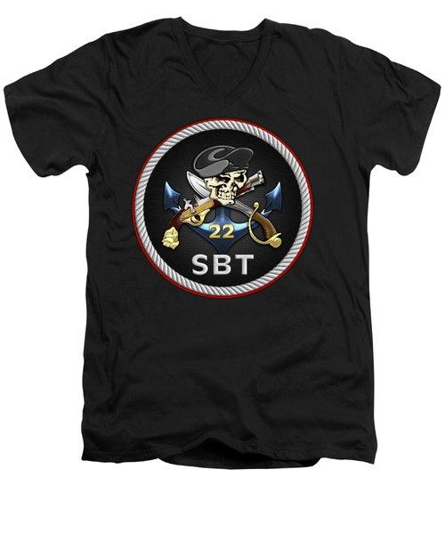 U. S. Navy S W C C - Special Boat Team 22  -  S B T 22  Patch Over Black Velvet Men's V-Neck T-Shirt by Serge Averbukh