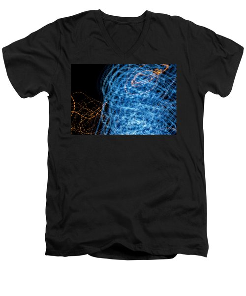 Ufa Neon Abstract Light Painting Sodium #7 Men's V-Neck T-Shirt