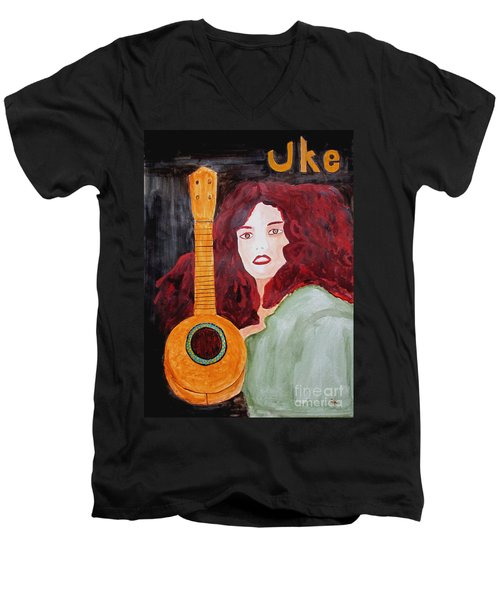 Men's V-Neck T-Shirt featuring the painting Uke by Sandy McIntire