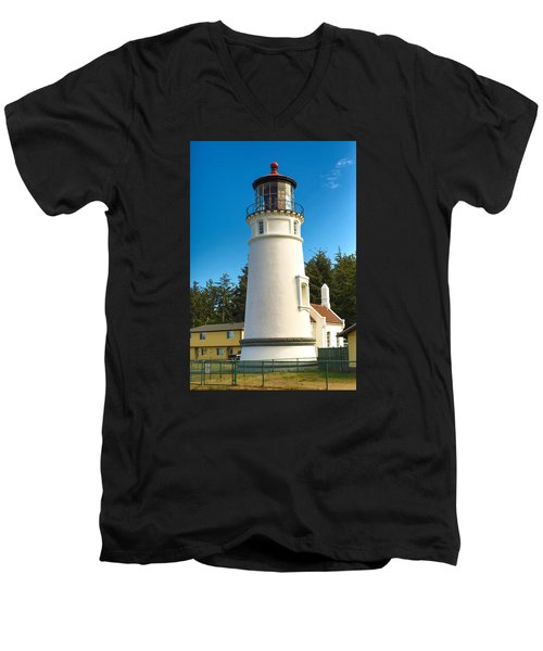 Men's V-Neck T-Shirt featuring the tapestry - textile Umpqua River Lighthouse by Dennis Bucklin