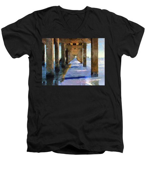 Under The Galvaston Pier Men's V-Neck T-Shirt by Cedric Hampton