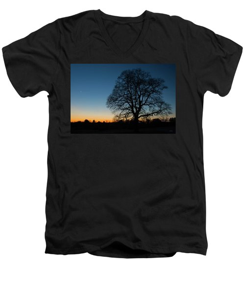 Men's V-Neck T-Shirt featuring the photograph Under The New Moon by Dana Sohr