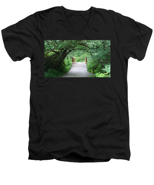Men's V-Neck T-Shirt featuring the painting Under The Tunnel by Rod Jellison