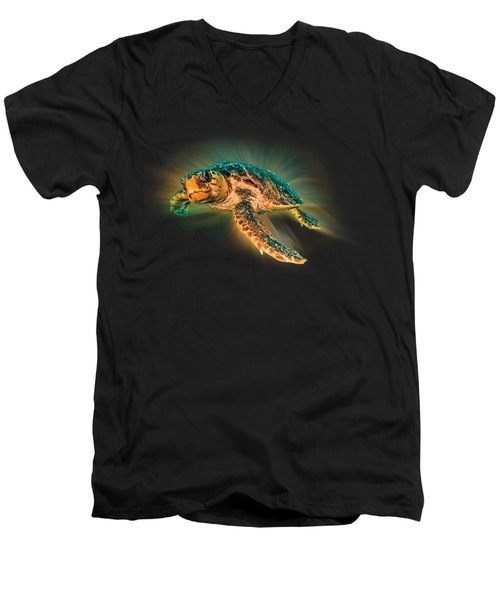 Men's V-Neck T-Shirt featuring the photograph Undersea Turtle by Debra and Dave Vanderlaan