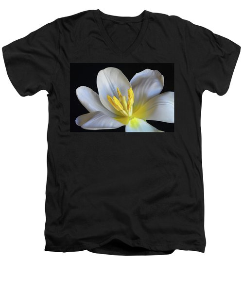 Men's V-Neck T-Shirt featuring the photograph Unfolding Tulip. by Terence Davis