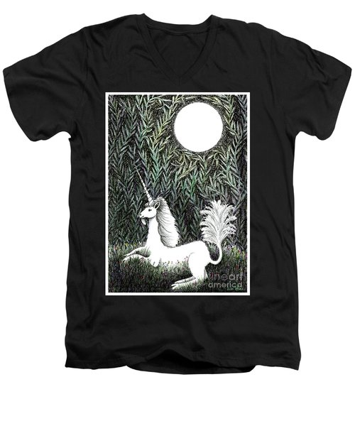 Unicorn In Moonlight Men's V-Neck T-Shirt by Lise Winne