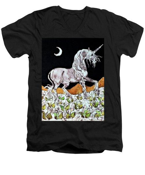 Unicorn Over Flower Field Men's V-Neck T-Shirt