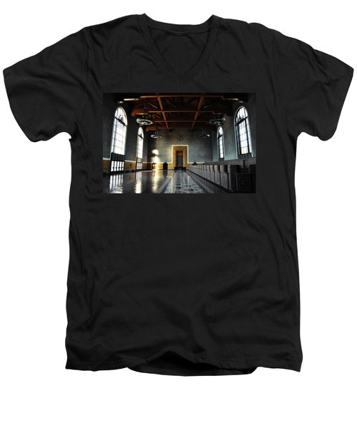 Men's V-Neck T-Shirt featuring the photograph Union Station Los Angeles by Kyle Hanson