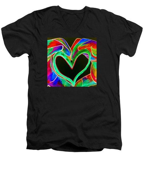 Universal Sign For Love Men's V-Neck T-Shirt by Eloise Schneider