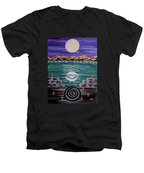 Men's V-Neck T-Shirt featuring the painting Unthought Known by Carolyn Cable