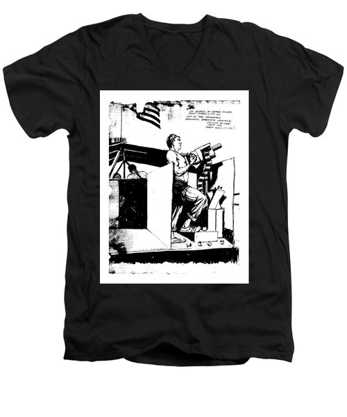 Men's V-Neck T-Shirt featuring the drawing Untitled by Bob George