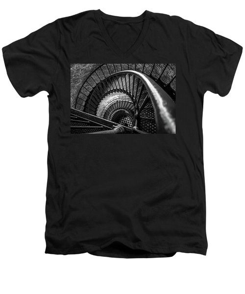 Men's V-Neck T-Shirt featuring the photograph Unwind  - Currituck Lighthouse by David Sutton