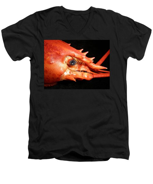 Up Close Lobster Men's V-Neck T-Shirt by Patricia Piffath
