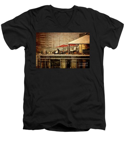 Men's V-Neck T-Shirt featuring the photograph Up On The Roof - Miraflores Peru by Mary Machare
