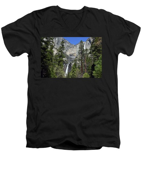 Upper And Lower Yosemite Falls Men's V-Neck T-Shirt