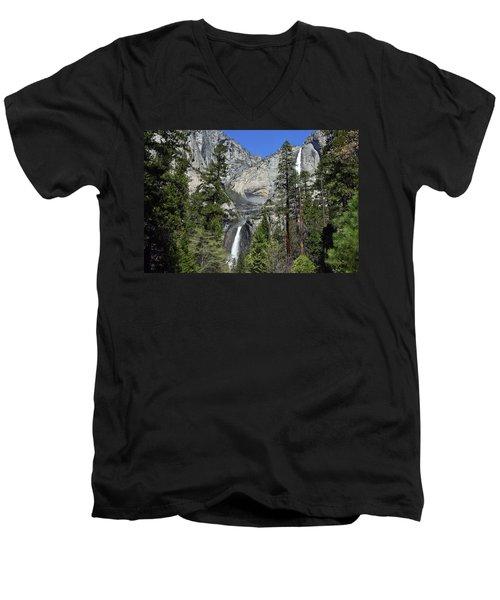 Upper And Lower Yosemite Falls Men's V-Neck T-Shirt