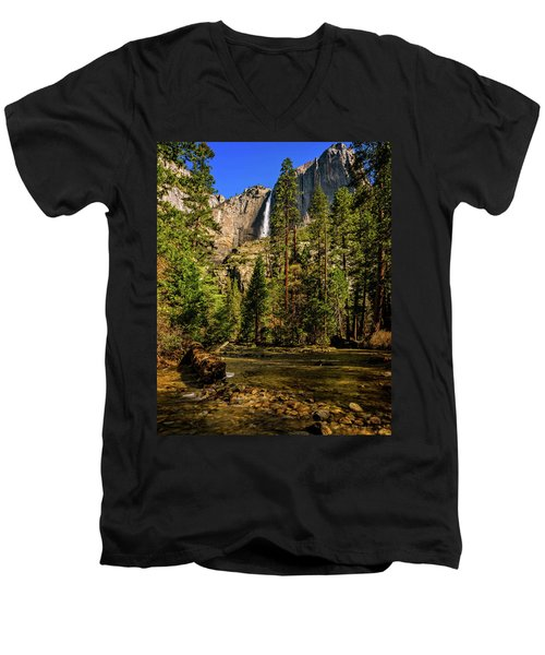 Upper Yosemite Falls From Yosemite Creek Men's V-Neck T-Shirt