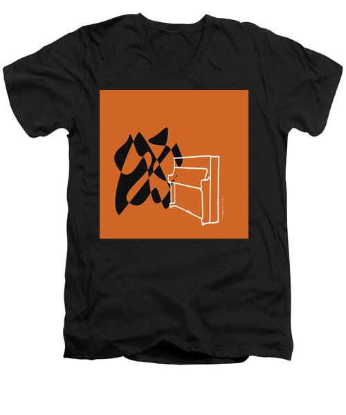 Men's V-Neck T-Shirt featuring the digital art Upright Piano In Orange by Jazz DaBri