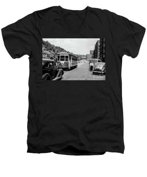 Men's V-Neck T-Shirt featuring the photograph Uptown Trolley Near 193rd Street by Cole Thompson