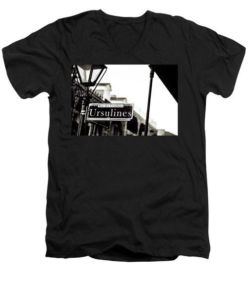 Ursulines In Monotone, New Orleans, Louisiana Men's V-Neck T-Shirt