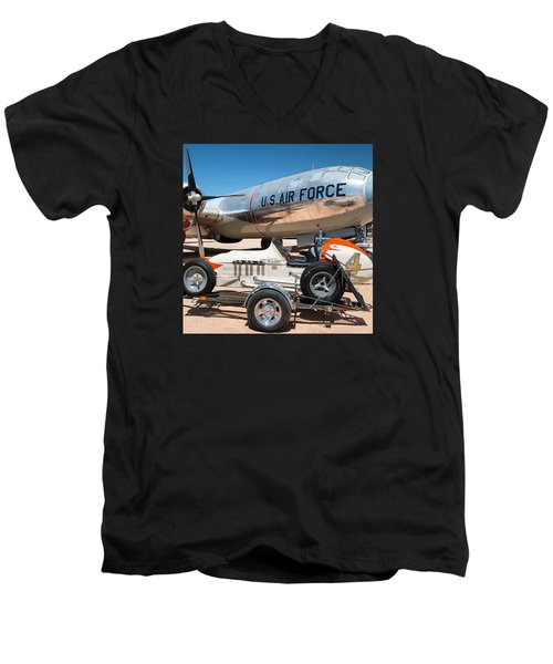 Us Air Force Airplane And Race Car  Men's V-Neck T-Shirt