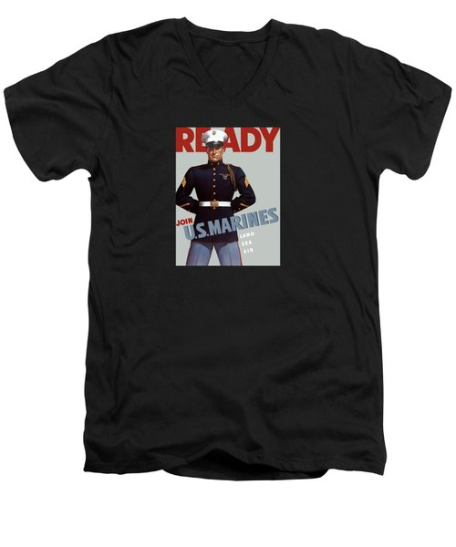 Us Marines - Ready Men's V-Neck T-Shirt by War Is Hell Store