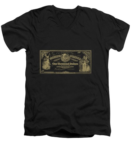 Men's V-Neck T-Shirt featuring the digital art U. S. One Thousand Dollar Bill - 1863 $1000 Usd Treasury Note In Gold On Black by Serge Averbukh