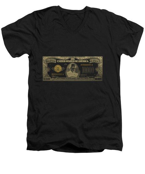 Men's V-Neck T-Shirt featuring the digital art U.s. Ten Thousand Dollar Bill - 1934 $10000 Usd Treasury Note In Gold On Black by Serge Averbukh