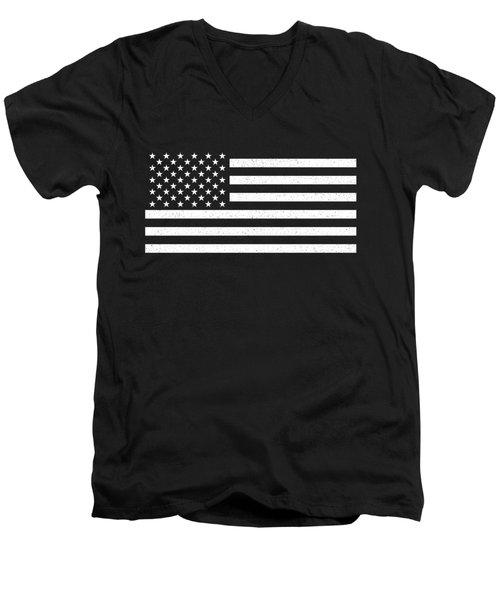 Men's V-Neck T-Shirt featuring the digital art Usa Flag Hidef Super Grunge Patina by Bruce Stanfield