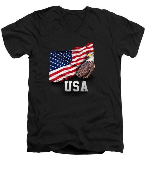 Usa Flag With Bald Eagle 4th Of July Men's V-Neck T-Shirt by Carsten Reisinger