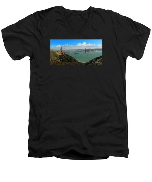 Uss Iowa, Battelship, Golden Gate Bridge, San Francisco, Califor Men's V-Neck T-Shirt by Wernher Krutein