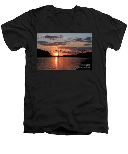 Utica Bridge At Sunset Men's V-Neck T-Shirt