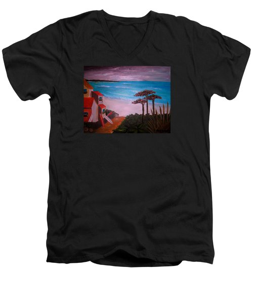On Vacation Men's V-Neck T-Shirt by Pristine Cartera Turkus