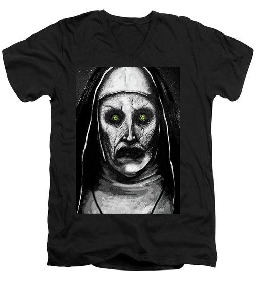 Men's V-Neck T-Shirt featuring the digital art Valak The Demon Nun by Taylan Apukovska