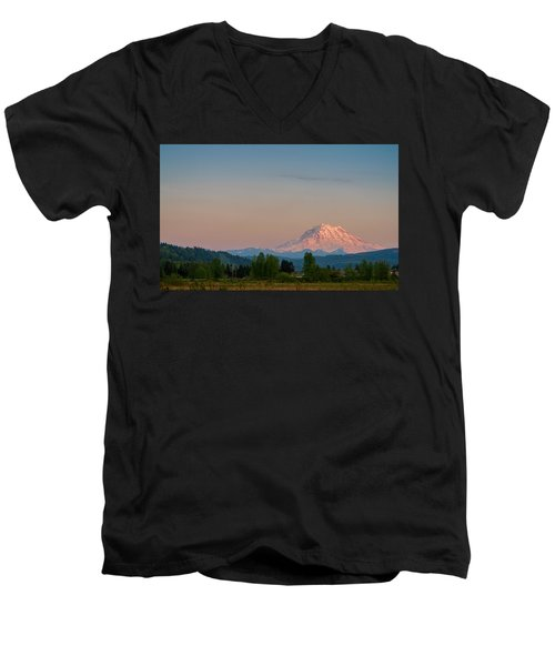 Valley Sunset Of Mt Rainier Men's V-Neck T-Shirt by Ken Stanback
