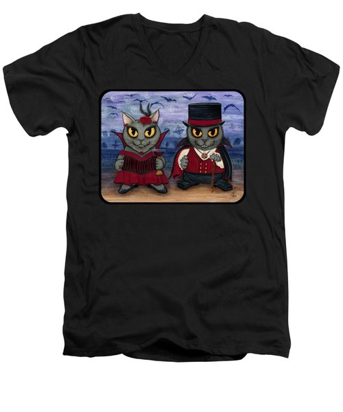 Vampire Cat Couple Men's V-Neck T-Shirt
