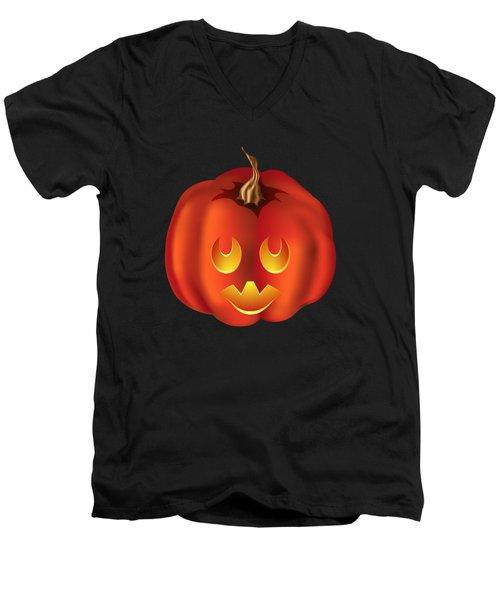 Vampire Halloween Pumpkin Men's V-Neck T-Shirt by MM Anderson