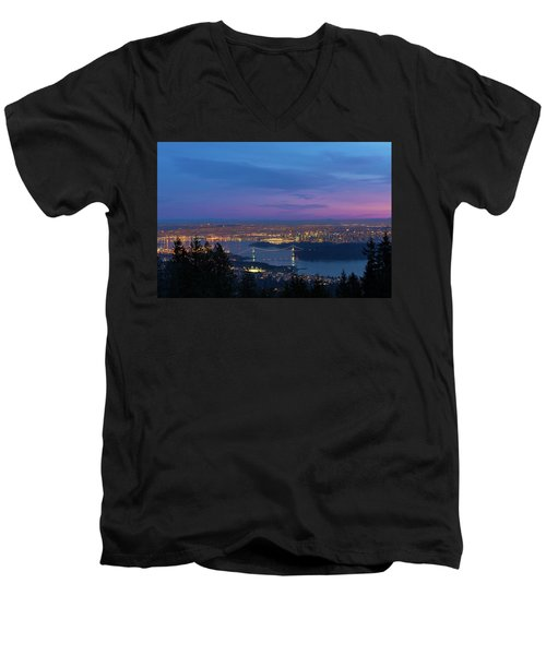 Vancouver Bc Cityscape Lions Gate Bridge Sunset Men's V-Neck T-Shirt