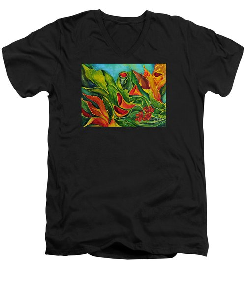 Men's V-Neck T-Shirt featuring the painting Variation by Teresa Wegrzyn